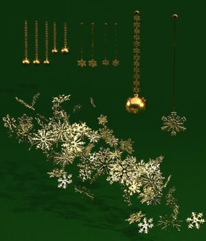 Gold Christmas Elements - OBJ 3D Models forester