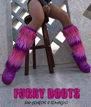 Furry Boots for Genesis 8 Females 3D Figure Assets ArtTailor