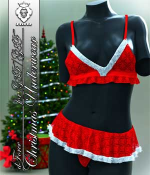 JMR dForce Christmas Underwear for G3F and G8F 3D Figure Assets JaMaRe
