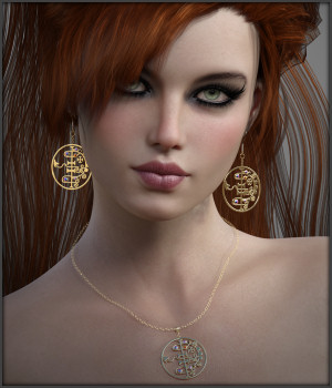 Black Magic Earrings and Necklace for G3F and G8F 3D Figure Assets -Wolfie-