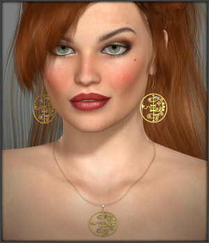 Black Magic Earrings and Necklace for V4 3D Figure Assets -Wolfie-