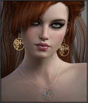 White Magic Earrings and Necklace for G3F and G8F 3D Figure Assets -Wolfie-