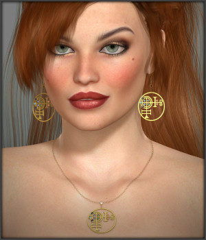 White Magic Earrings and Necklace for V4 3D Figure Assets -Wolfie-