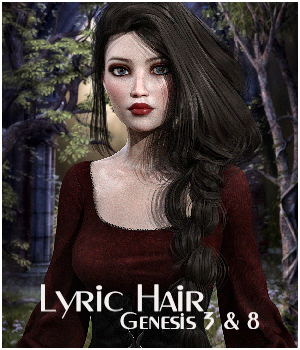 Lyric Hair for Genesis 3 and 8 females 3D Figure Assets RPublishing