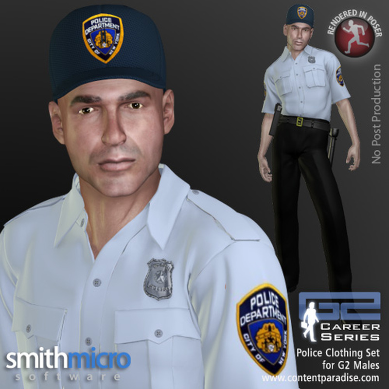 Police Officer Clothing Pack G2 Males (Career Series) by Poser_Software
