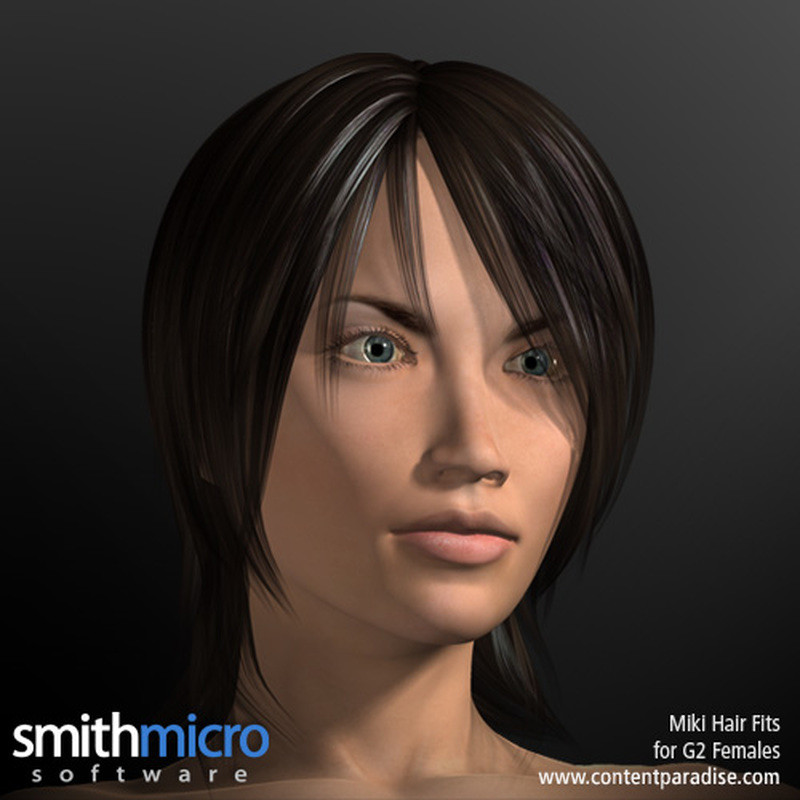 Miki 2.0 Hair Refitted for G2 Females by Poser_Software