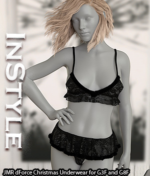 InStyle - JMR dForce Christmas Underwear for G3F and G8F 3D Figure Assets -Valkyrie-