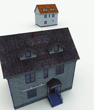 Haunted Police Station for Bryce 3D Models Meshbox