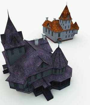 Haunted Manor House for Bryce 3D Models Meshbox