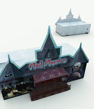 Mad Mansion Haunted House Ride For Poser 3D Models Meshbox
