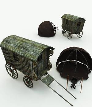 Gypsy Wagon and Camp for Vue 3D Models Meshbox