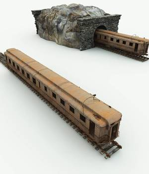 Abandoned Train Car for Bryce 3D Models Meshbox