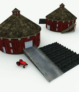 Round Barn and Antique Tractor for Vue 3D Models Meshbox