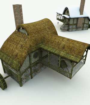 Halfling Village Watermill for Bryce 3D Models Meshbox