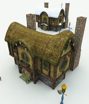Halfling Village Inn  For Bryce  3D Models Meshbox