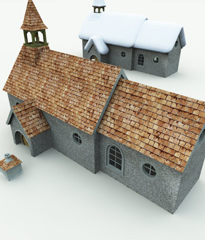 Halfling Village Church for Bryce 3D Models Meshbox