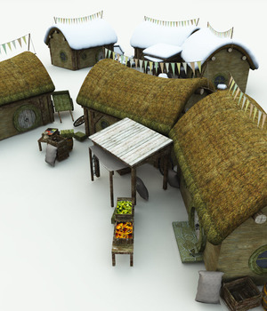 Halfling Village Market for Poser 3D Models Meshbox