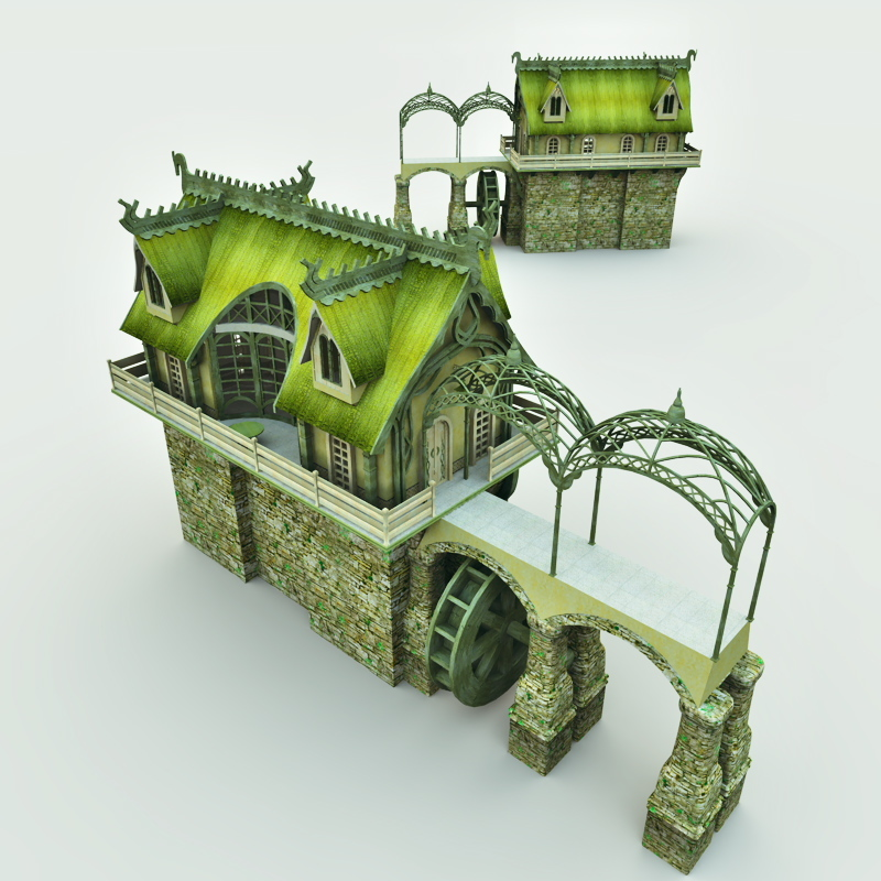 Elven Village Watermill for Poser by Meshbox