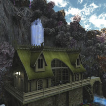 Elven Village Watermill for Poser image 7
