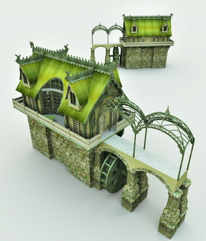 Elven Village Watermill for Blender 3D Models Meshbox