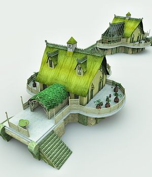 Elven Village Woodshape for Bryce 3D Models Meshbox