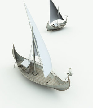 Elven Small Sail Boat  for Bryce 3D Models Meshbox