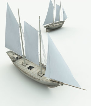 Elven Schooner  for Bryce 3D Models Meshbox