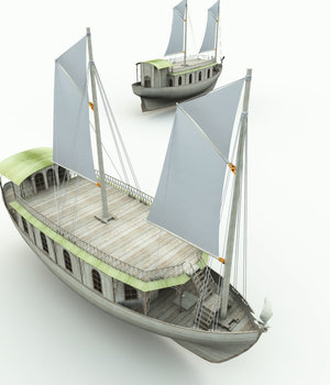 Elven House Ship for Blender 3D Models Meshbox