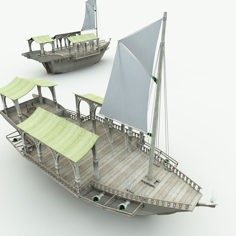 Elven Wizard Ship for Blender 3D Models Meshbox