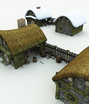 Halfling Village Blacksmith for Bryce 3D Models Meshbox