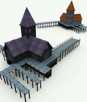 Haunted Docks for Bryce 3D Models Meshbox