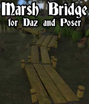 Marsh Bridge for Daz and Poser 3D Models genejoke