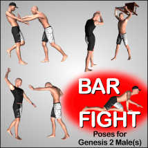 BAR FIGHT Poses for Genesis 2 Male(s) image 1