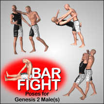 BAR FIGHT Poses for Genesis 2 Male(s) image 2
