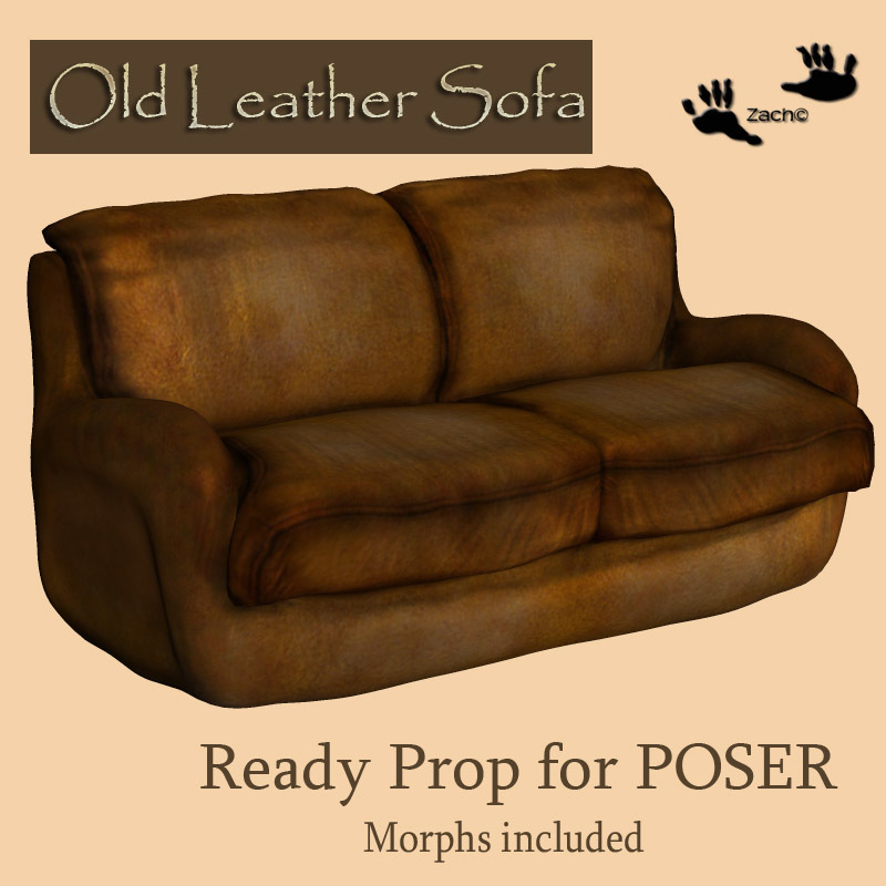 Old Leather Sofa 3D Models zachary