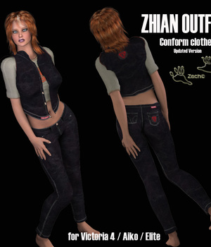 Zhian Outfit for V4 Updated Version 3D Figure Assets zachary