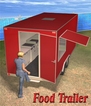 Food Trailer Set 3D Models Richabri