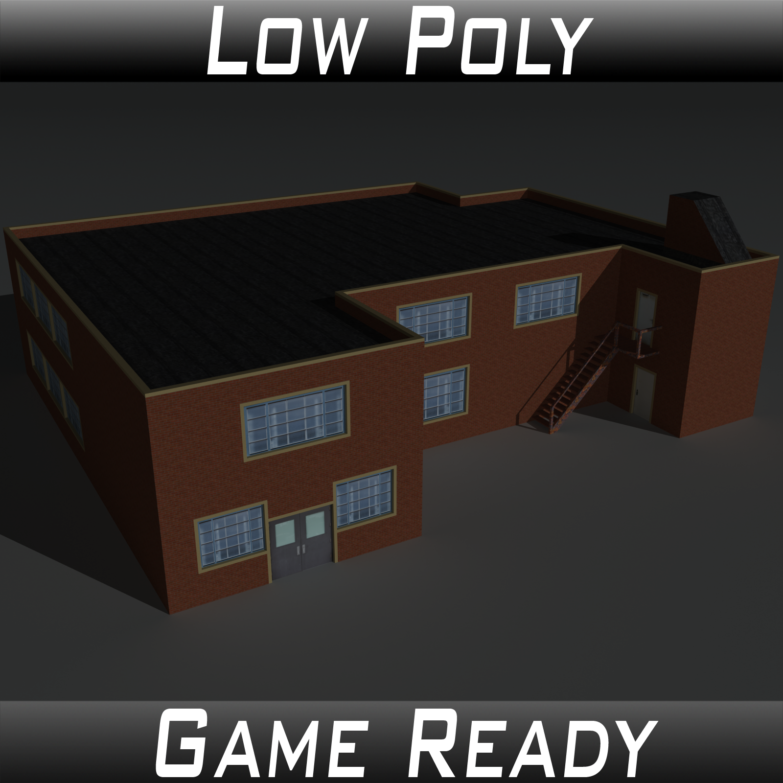 Low Poly Factory Building 33 - Extended Licence