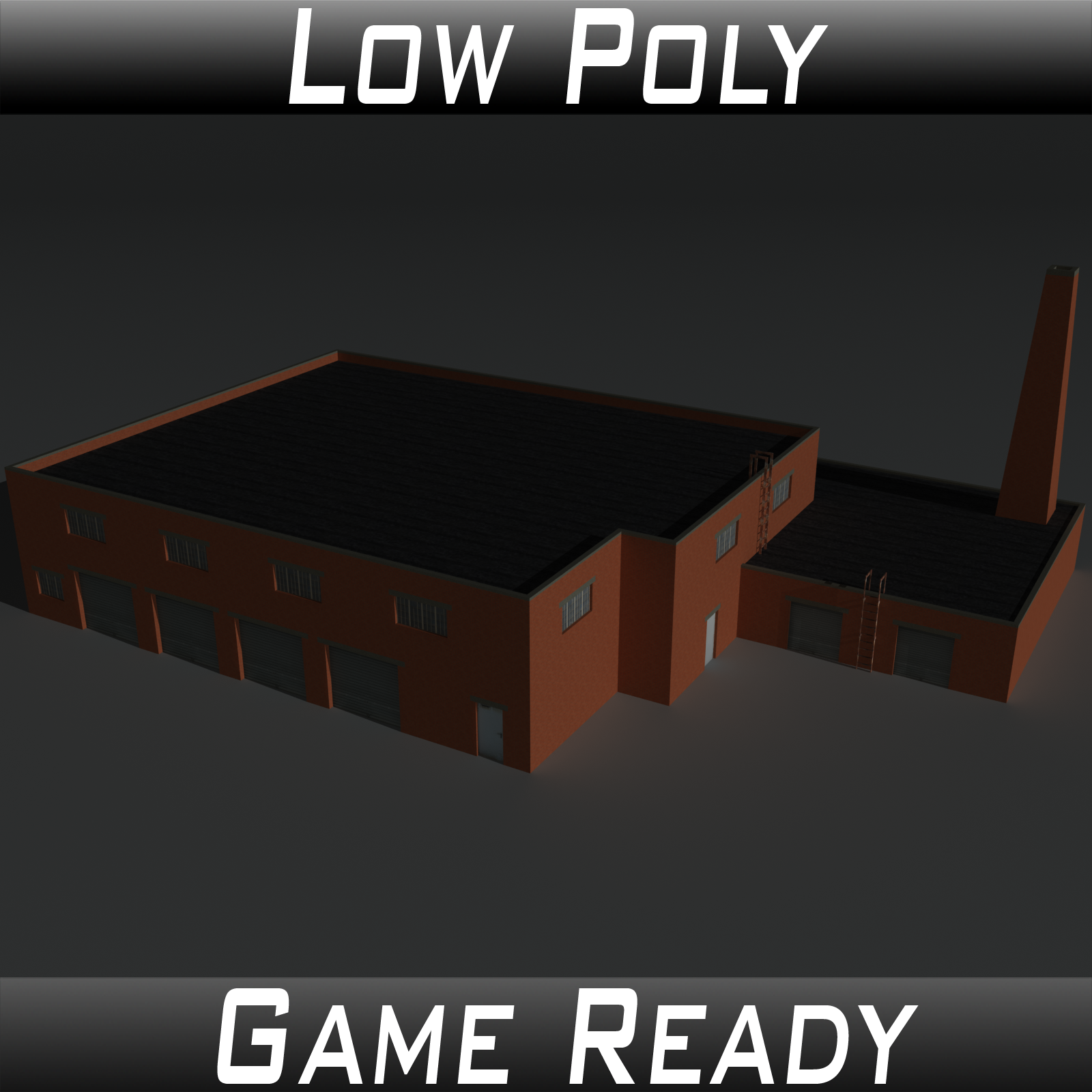 Low Poly Factory Building 34 - Extended Licence