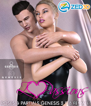 Z Passions - Couple Poses for Genesis 3 and 8 3D Figure Assets Zeddicuss