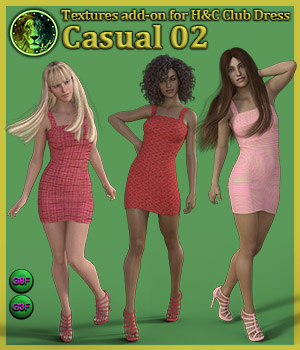Casual 02 for H and C Club Dress for G8F and G3F 3D Figure Assets Lyone