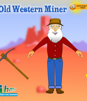 Old Western Miner for Anime Studio 2D Graphics Animation_Designs