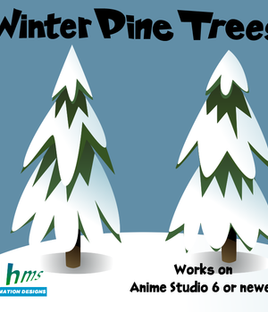 Winter Pine Trees 2D Graphics Animation_Designs