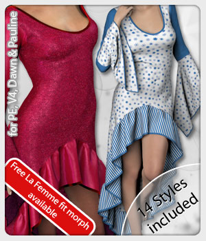 Nia Dress and 14 Styles for PE, V4, Dawn and Pauline 3D Figure Assets karanta