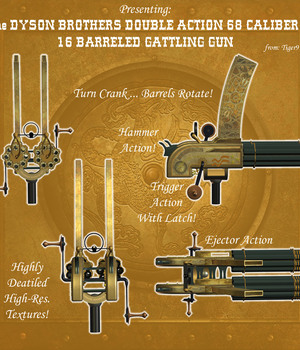 AtoZ Steampunk 16 Barreled Double Gattling Gun and Tripod Legacy Discounted Content AtoZ