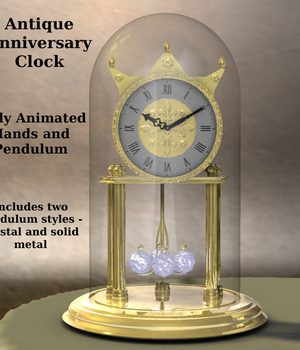 Antique Anniversary Clock with Crystal or Brass weights 3D Models dexterdoodle