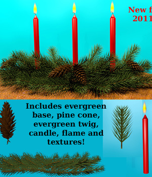 2011 Holiday Collection Evergreen Candle Arrangement 3D Models dexterdoodle