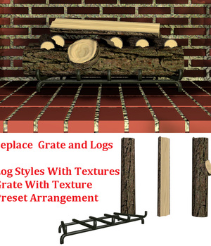2011 Fireplace Logs and Grate 3D Models dexterdoodle