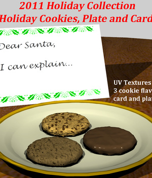 Holday Cookies and Card 3D Models dexterdoodle