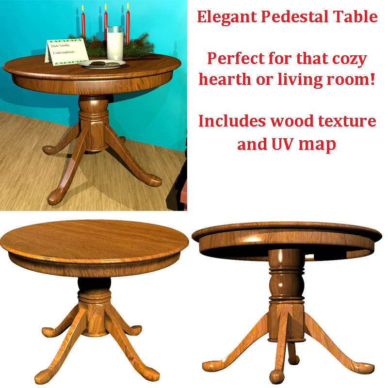 Pedestal Table with wood texture